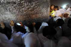 Muslim pilgrims gather to pray at Mount Arafat near the holy city of Mecca, early on Nov. 5, 2011. (Fayez Nureldine - AFP/Getty Images)