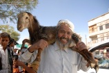 A man carries a sacrificial goat on sale at a market, ahead of the Eid al-Adha feast, in Sanaa, Yemen on November 5, 2011. (