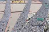 "Thousands of Muslim pilgrims arrive to throw pebbles at pillars during the ""Jamarat"" ritual, the stoning of Satan, in Mina near the holy city of Mecca. Nov. 6,"