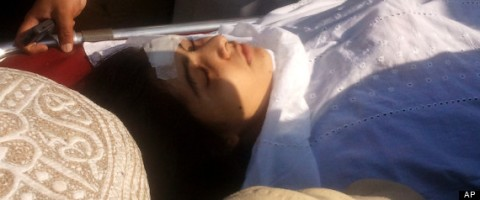 A wounded Pakistani girl, Malala Yousufzai,