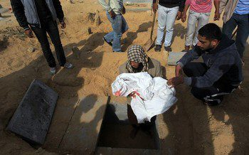 """Nic6155204</p> <p>Palestinian mourners bury the body of 18-month-old Eyad Abu Khosa, killed in the latest Israeli airstrikes, during his funeral in the Bureij refugee camp in central Gaza Strip on November 18, 2012. Israeli Prime Minister Benjamin Netanyahu said that Israel is ready to """"significantly expand"""" its operation against militants in the Hamas-run Gaza Strip as it entered its fifth day. AFP PHOTO/MAHMUD HAMS (Photo credit should read MAHMUD HAMS/AFP/Getty Images) 2012 AFP"""