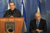 "Israeli Defense Minister Ehud Barak (L) and Prime Minister Benjamin Netanyahu (R) address the media at the defense ministry in Tel Aviv on November 14, 2012. Israel sent a ""clear message"" to Hamas through the killing of its top military commander and is ready to ""expand"" its operation in Gaza if necessary, Israeli Prime Minister Benjamin Netanyahu said . AFP PHOTO/JACK GUEZ (Photo credit should read JACK GUEZ/AFP/Getty Images)"