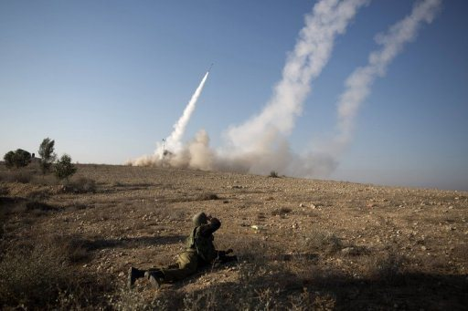 The Israeli military launch a missile from the Iron Dome missile system in the southern city of Beer Sheva into the Gaza Strip on November 15. Rockets killed three people in Israel Thursday soon after three militants died in an air strike, as Israel pressed a vast Gaza operation which began with a hit on a Hamas chief  Photo by AFP