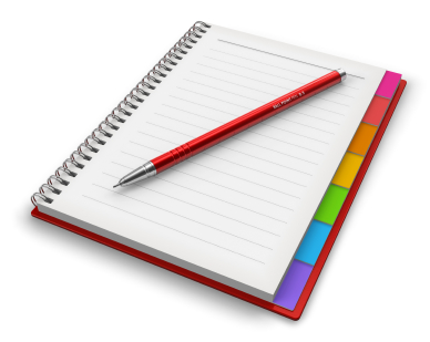 Office notepad with ballpoint pen