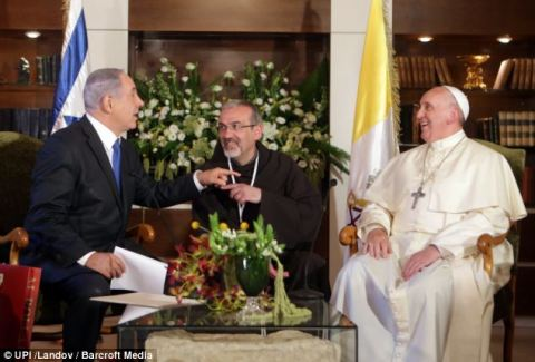 Aramaic! Benjamin Netanyahu (left) and the Pope (right) had a small, humorous squabble (pictured) about the language spoken by Jesus Christ, with Israel's prime minister saying that the religious leader spoke Hebrew, while the Pope said Aramaic