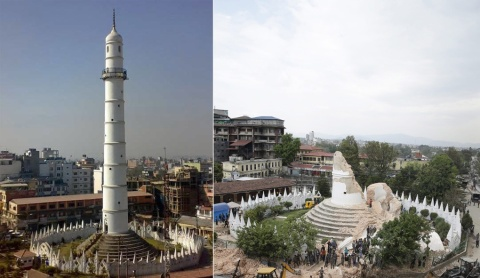 Historic Dharahara tower in Kathmandu before and after the earthquake