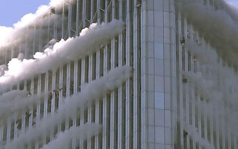 People hanging from the windows of the World Trade Center North Tower